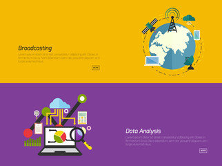 Flat design concepts for broadcast, Data analysis. Concepts for web banners and promotional materials.