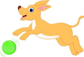 funny cartoon dog running with ball