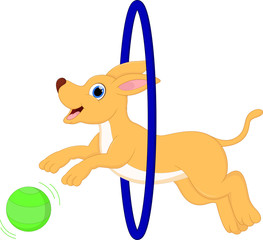 funny cartoon dog running with ball