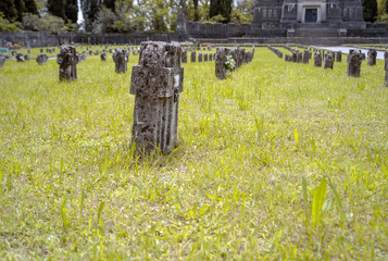 Worker village of Crespi d'Adda: graveyard detail. Color image
