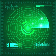 Green radar screen. Vector illustration for your design. Technology background. Futuristic user interface. HUD.