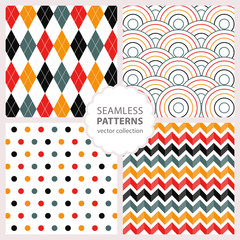 4 drawn painted geometric patterns set. Vector illustration