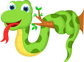 Cartoon illustration of a green snake for you design