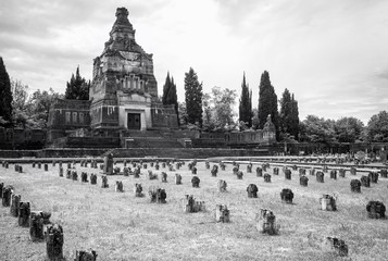Worker village of Crespi d'Adda: the graveyard. Black and white photo