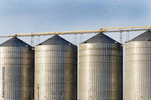 Exterior structure of new agriculture silo building  Steel grain