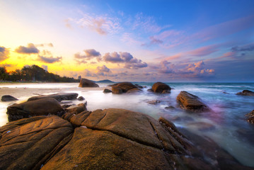 Colorful sea of  Rayong white stone Long Exposure of Sunset at t