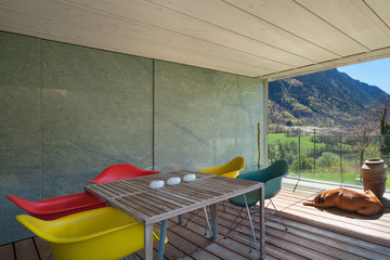 Terrace of a modern mountain house