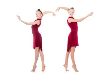 Two teenage girls dancing