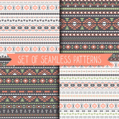 Set of geometric seamless patterns . Vector