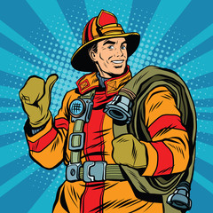Rescue firefighter in safe helmet and uniform pop art
