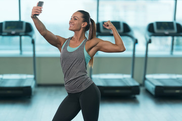 Girl Taking Selfie Picture In Gym