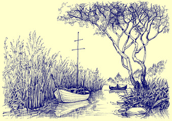 Nature vector sketch. Boats on river, fishermen at work