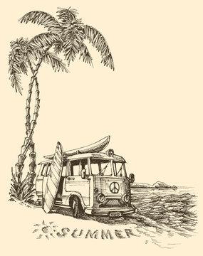 Surf van on the beach vector sketch
