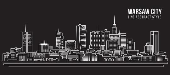 Cityscape Building Line art Vector Illustration design -  Warsaw city