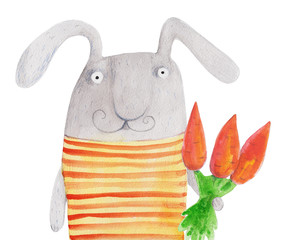 Bunny with carrot. Watercolor illustration