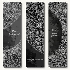 Abstract vector hand drawn doodle floral pattern card set. Series of image Template frame design for card.