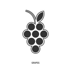 bunch of grapes. logo, symbol, logo, menu, wine list, black, white. vector illustration.