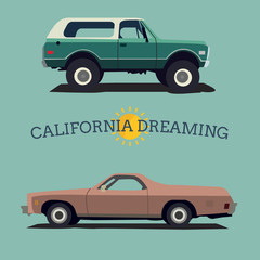 Muscle car. Flat styled. Vector illustration.