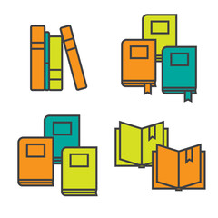 Book icons in line flat style