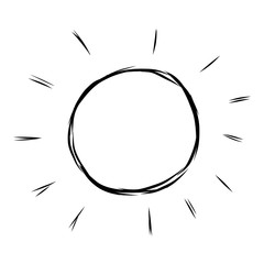 sun / cartoon vector and illustration, black and white, hand drawn, sketch style, isolated on white background.