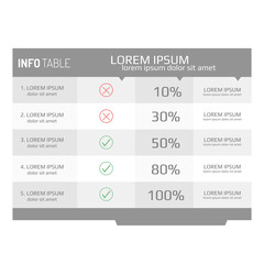 Infographics template, options, steps, rows, column, graph. Infographics table background