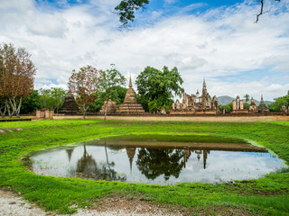 Mahathat Temple, an ancient temple in Sukhothai Historical Park, Sukhothai, Thailand.