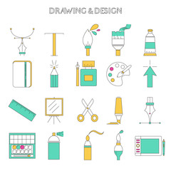 Set of drawing and design icons