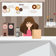 woman female customer smile in cafe with donuts and coffee in background interior