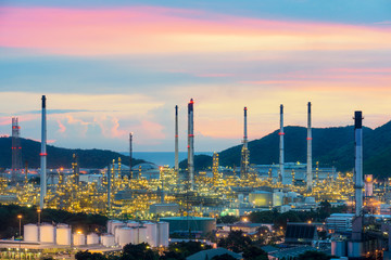 Industry concept - Oil refinery industry at night. Oil refinery