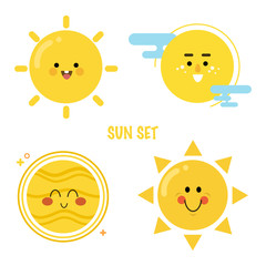 Sun Icon set. Smiling suns collection.Bright cartoon characters. Vector illustration