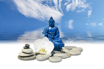 Zen or Feng-Shui background-Blue Medicine Buddha Bhaisajyaguru,zen stone,white orchid flowers and sky reflected in water