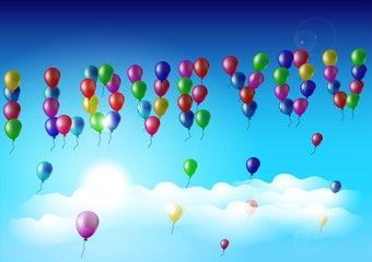 balloons in the sky, a declaration of love, greeting card