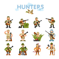 Hunters vector illustration on isolated background