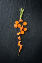 Cutting fresh carrot