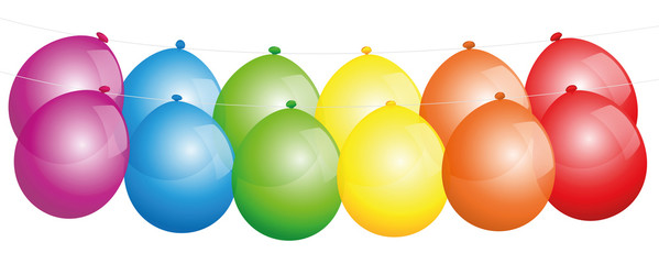 Balloons hanging in a line - isolated vector illustration on white background.