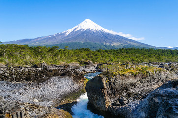 Petrohue Falls with Osorno Volcano, Patagonia, Chile, South America