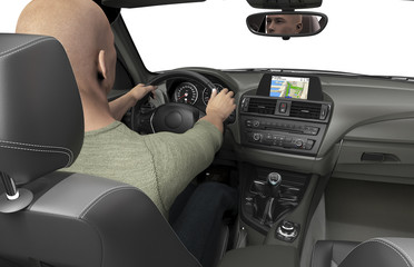 the inside or interior of a modern car