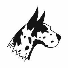 Great dane dog icon, simple style