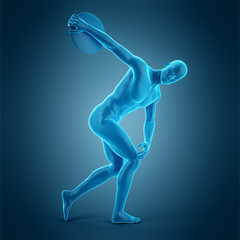 medically accurate 3d illustration of a discus thrower