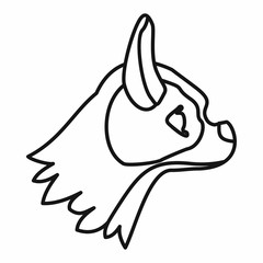 Pug dog icon, outline style
