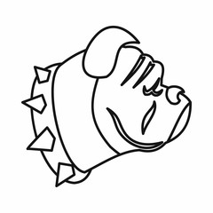 Bulldog dog icon, outline style