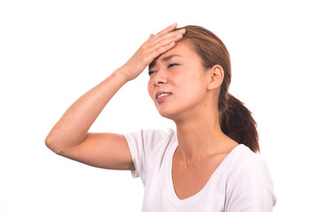 Beautiful Asian woman with a headache