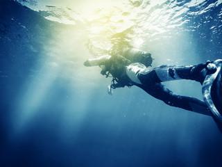 Scuba diver. Vintage effect.