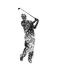 golfer hitting long shot silhouette