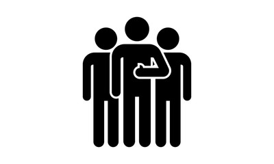 Team pictogram. Mans vector icon. Three persons.