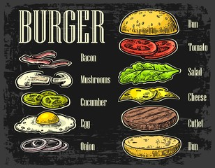 Burger ingredients on dark background
