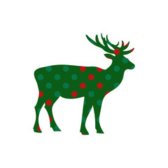 Deer Christmas holiday vector card
