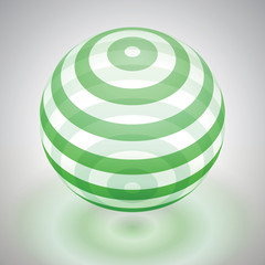 Vector transparent sphere striped, green volume form, reflection abstract form, vector design