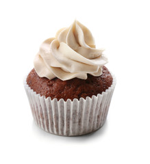 Tasty chocolate cupcake, isolated on white