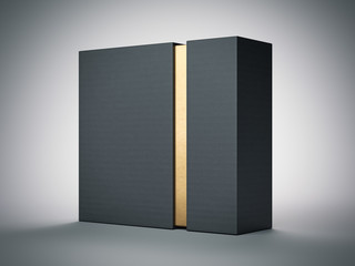 Black box with gold stripe inside. 3d rendering